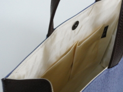 790BH 紙袋型ヨコ長手提げマグホック付き(色手・マチ・底色革付属使用)(底鋲付き)B